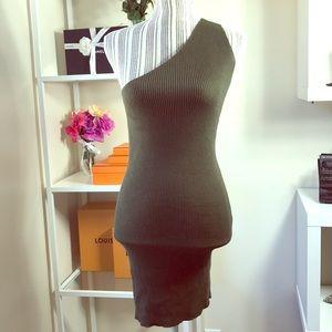 Zara one shoulder olive dress